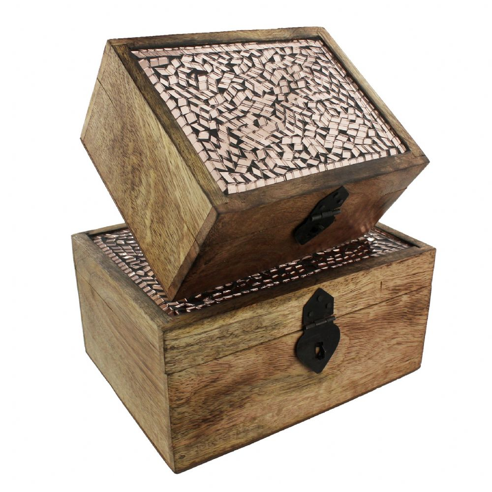 Natural Dark Wooden Boxes With Copper Glass Mosaic Decoration Set of 2 Vintage Boxes
